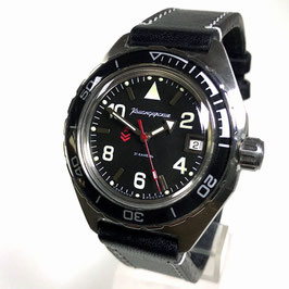 Russian automatic pilots watch VOSTOK KOMANDIRSKIE K-65 with glas case back and calfskin strap by VOSTOK, stainless steel, brushed, ø42mm