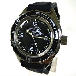 Russian automatic diver watch VOSTOK AMPHIBIA K-67 with black bezel, SCUBA case back and polyurethaning strap by VOSTOK, 200m water proof, stainless steel, polished, ø41mm