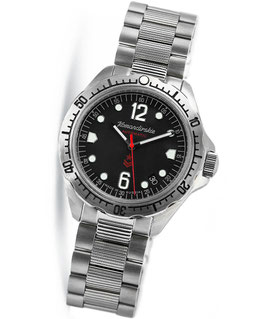 "Russian automatic watch ""KOMANDIRSKIE K-34"" by VOSTOK, 100m water proof, stainless steel, brushed, ø42mm"