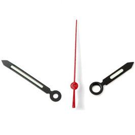 Zeiger für VOSTOK KOMANDIRSKIE und AMPHIBIA Uhren mit einem 24-er Werk, schwarz, rote Sekunde, Leuchtmasse SET09