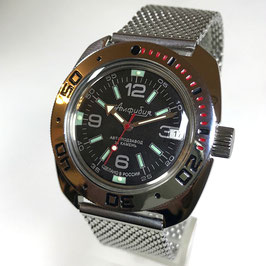 Automatikuhr AMPHIBIA mit Milanaise-Armband von VOSTOK, 200m wasserdicht, Edelstahl, poliert, ø41x44mm