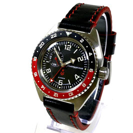 Russian automatic watch VOSTOK KOMANDIRSKIE K-65 GMT with glass bottom by VOSTOK, stainless steel, brushed, ø42mm