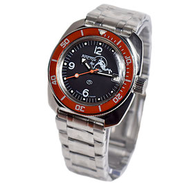 """Russian automatic watch VOSTOK """"AMPHIBIA SCUBA DUDE"""" with SCUBA DUDE case back by VOSTOK, 200m water proof, stainless steel, polished, 41x44mm"""