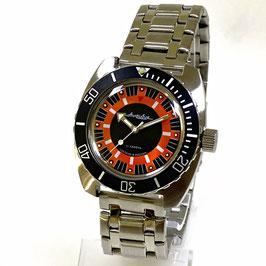 """""""AMPHIBIA"""" Automatikuhr mit Glasboden von Vostok-Watches24, Edelstahl, gebürstet, ø41,5mm"""