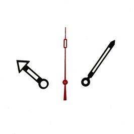 Zeiger für VOSTOK KOMANDIRSKIE und AMPHIBIA Uhren mit einem 24-er Werk, schwarz, rote Sekunde, Leuchtmasse SET07