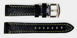 22mm, green stitched AVIATOR leather strap for VOSTOK watches, calfskin, ARM-LD22-06