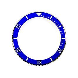 Lünette mit blauem Keramik - Insert für VOSTOK AMPHIBIA KOMANDIRSKIE Uhren von VOSTOK, Edelstahl, weiße SuperLumiNova, ø40,0mm