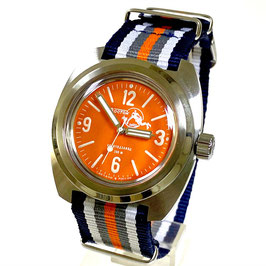 """AMPHIBIA SCUBA DUDE"" automatic watch with SuperLumiNova dial hands, Scuba Dude glass case back and NATO strap by VOSTOK-Watches24, stainless steel, brushed, ø41,5mm"