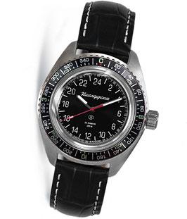 "Automatik 24hr watch ""KOMANDIRSKIE K-03"" by VOSTOK, stainless steel, brushed, ø42mm"