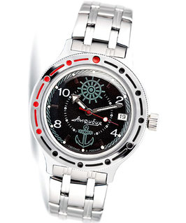 "VOSTOK ""AMPHIBIA"" K-42 automatic watch ""SAILOR"" by VOSTOK, 200m water proof, stainless steel, polished, ø40mm"