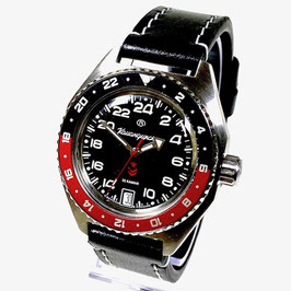 Russian automatic 24hr watch VOSTOK KOMANDIRSKIE K-65 with two colour bezel, glass bottom and AVIATOR strap by VOSTOK, stainless steel, brushed, ø42mm