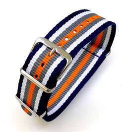 18mm NATO strap for VOSTOK watches, blue white grey orange, NATO09-18mm