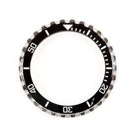 Crown bezel with black ceramic insert with white SuperLumiNova luminous lettering for VOSTOK KOMANDIRSKIE watches, stainless steel, polished, ø41.5mm, LÜ-INS-47