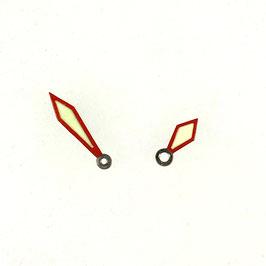 Schwertzeiger rot LACO Zeiger für VOSTOK KOMANDIRSKIE und AMPHIBIA Uhren mit einem 24-er Werk, Neusilber, SuperLumiNova Leuchtmasse PAAR02