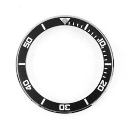 Lünette für VOSTOK AMPHIBIA KOMANDIRSKIE Uhren von VOSTOK, Edelstahl, poliert, schwarz, LÜ-INS-60