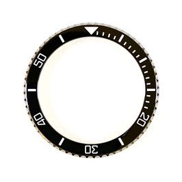 Bezel with black ceramic insert with white SuperLumiNova luminous lettering for VOSTOK KOMANDIRSKIE watches, stainless steel, ø40.0mm, LÜ-INS-21