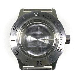 """Gehäuse 350 mit """"B""""-Krone, Killerwalboden und Metallwerkhaltering für VOSTOK AMPHIBIA Uhren von VOSTOK, Edelstahl, gebürstet, komplett"""