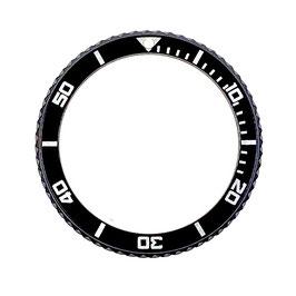 Lünette schwarz PVD beschichtet für VOSTOK AMPHIBIA KOMANDIRSKIE Uhren von VOSTOK, Edelstahl, black Insert mit silberner Beschriftung
