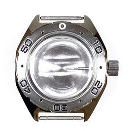 Case 670 with brushed bezel for VOSTOK KOMANDIRSKIE watches with polished bezel, stainless steel, polished, complete