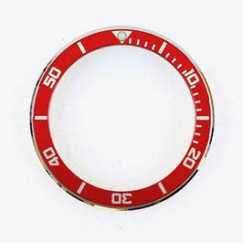 Lünette für VOSTOK AMPHIBIA KOMANDIRSKIE Uhren von VOSTOK, Edelstahl, poliert, rot, LÜ-INS-66