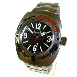 "Russian automatic watch ""AMPHIBIA 1967"" by VOSTOK, 200m water proof, stainless steel, satin, 42x48mm"