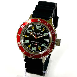 "VOSTOK ""AMPHIBIA"" K-42 automatic diver watch with red bezel and PU-strap by VOSTOK, 200m water proof, stainless steel, polished, ø40mm"