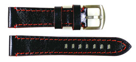 20mm, red stitched AVIATOR leather strap for VOSTOK watches, calfskin, black with red edges ARM-LD20-05