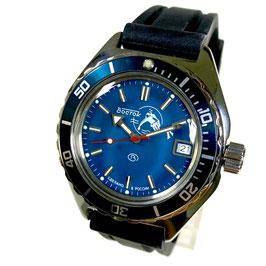 """Russische Automatikuhr """"AMPHIBIA SCUBA DUDE""""  mit SCUBA DUDE - Boden und Silikon-Armband von Vostok-Watches24, Edelstahl, poliert, ø42mm"""