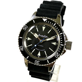 """Russian Automatik diver watch """"AMPHIBIA"""" with paddle hands, SuperLumiNova, Scuba Dude Case back by VOSTOK, 200m water proof, stainless steel, polished, ø40mm"""