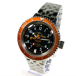"""VOSTOK """"AMPHIBIA"""" K-42 automatic diver watch """"SCUBA DUDE"""" with orange bezel and glass case back by VOSTOK, 200m water proof, stainless steel, polished, ø40mm"""