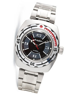 "Russian automatic watch ""AMPHIBIA K-09"" by VOSTOK, 200m water proof, stainless steel, satin, 42x48mm"