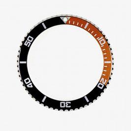 Lünette für VOSTOK AMPHIBIA KOMANDIRSKIE Uhren von VOSTOK, Edelstahl, poliert, schwarz orange, ø40mm, LÜ-INS-03