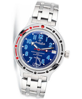 "VOSTOK ""AMPHIBIA"" K-42 automatic diver watch ""SAILOR"" by VOSTOK, 200m water proof, stainless steel, polished, ø40mm"