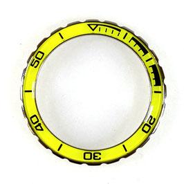 Bezel with yellow insert for VOSTOK KOMANDIRSKIE watches, stainless steel