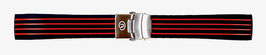 18mm VOSTOK silicone strap, black with red stripes