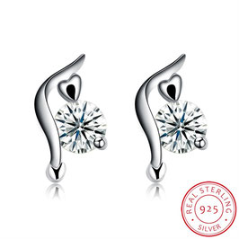 Ohrring geschwungen mit klarem Kristall