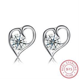 Herz Ohrring mit klarem Kristall