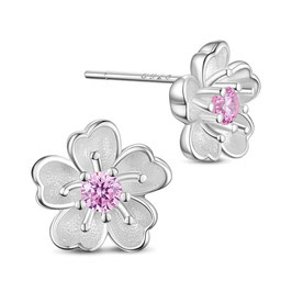 Blumen Ohrring mit rosa Kristall