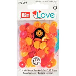 393080 prym Boutons pressions plastique multicouleurs orange fantaisie