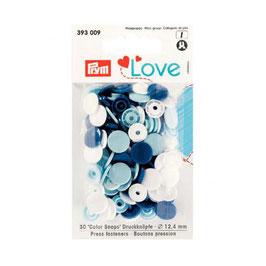 393009 prym Boutons pressions plastique bleus