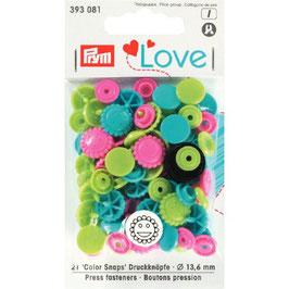 393081 prym Boutons pressions multicouleurs fantaisie vert rose