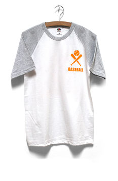 Baseball or Keirin shirt with raglan sleeve, neon print
