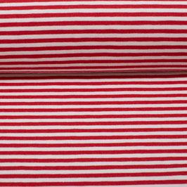 Jersey ISA Streifen rot-weiß (Meterware)