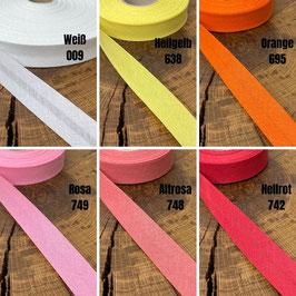 Schrägband Baumwolle gefalzt 40/20 (3m) verschiedene Farben