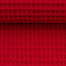 Waffelpiqué rot uni Meterware (338)