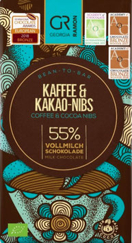 KAFFEE und KAKAO-NIBS - 55% Vollmilchschokolade - BIO von Georgia Ramon