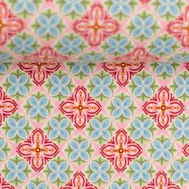 JULIA BaumwollWebware kleine Blüten rosa (Meterware)(300432)