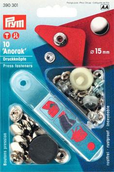 """Druckknöpfe """"Anorak"""" 15mm (10Stück) verschiedene Farben"""