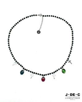 Collier Perles Facettes Noires & Croix et Médailles religieuses