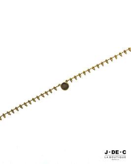 Collier à Pampilles Dorés avec Pendentif et Perle Facettée